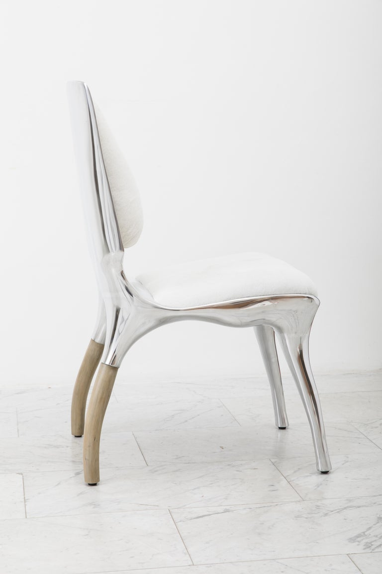 Walnut Alex Roskin, Tusk High Chair in Polished Aluminum, USA For Sale