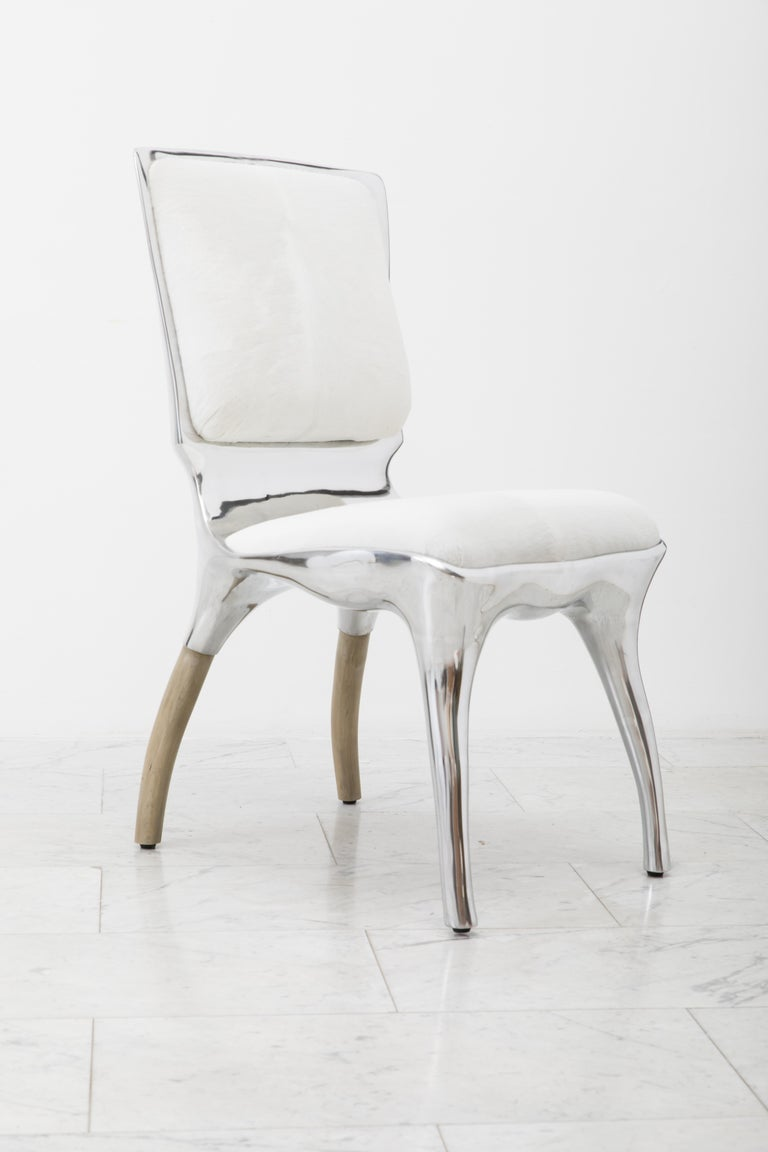 Alex Roskin, Tusk High Chair in Polished Aluminum, USA For Sale 1