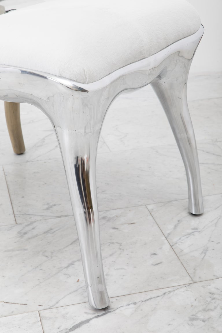 Alex Roskin, Tusk High Chair in Polished Aluminum, USA For Sale 2