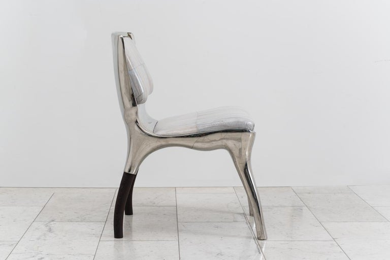 American Alex Roskin, Tusk Low Chair in Polished Aluminum, USA For Sale