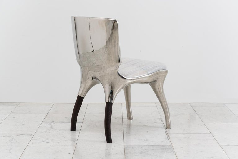 Alex Roskin, Tusk Low Chair in Polished Aluminum, USA In New Condition For Sale In New York, NY