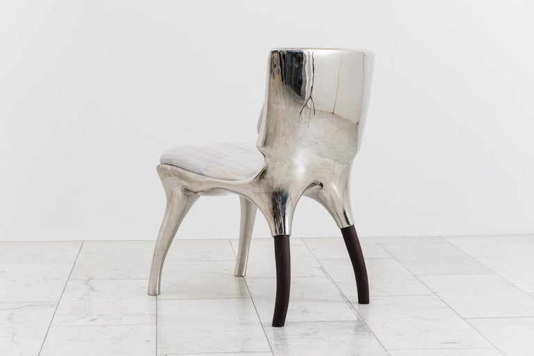 Contemporary Alex Roskin, Tusk Low Chair in Polished Aluminum, USA For Sale