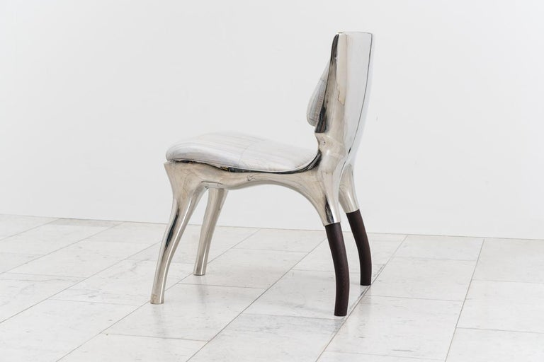 Stainless Steel Alex Roskin, Tusk Low Chair in Polished Aluminum, USA For Sale