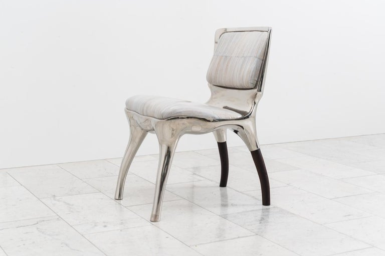 Alex Roskin, Tusk Low Chair in Polished Aluminum, USA For Sale 1