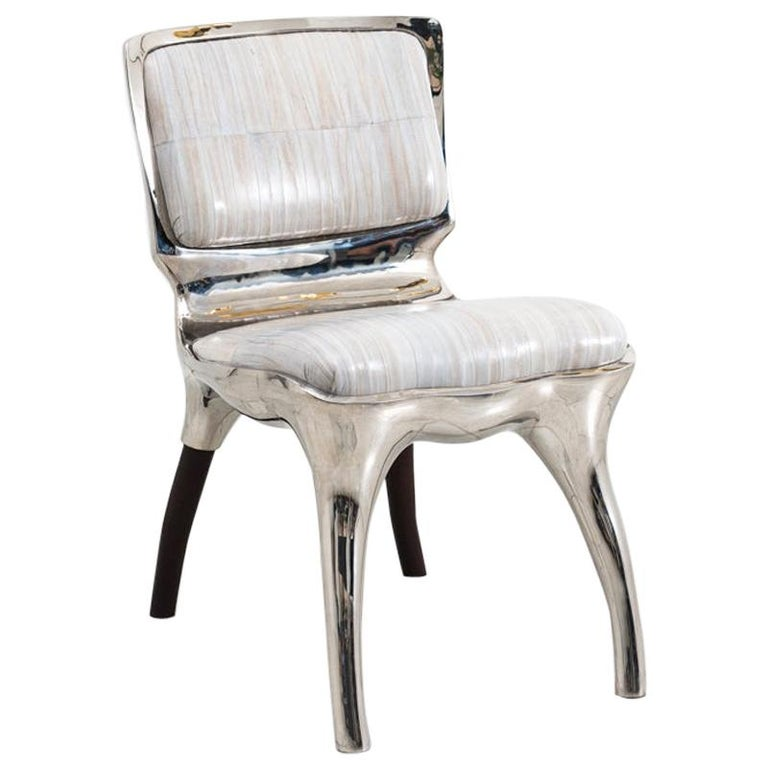 Alex Roskin, Tusk Low Chair in Polished Aluminum, USA For Sale