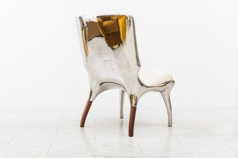 Alex Roskin, Tusk Lounge Chair in Polished Aluminum, USA In New Condition For Sale In New York, NY