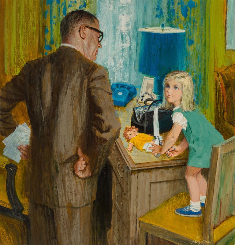 Alex Ross Portrait Painting - Caught! Young Girl uses Doctors Bag to Patch Up her Doll - Alexander Sharpe Ross