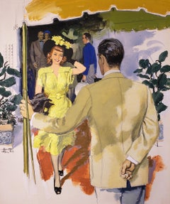 Couples Greeting at Hotel, Illustration for The Saturday Evening Post