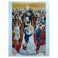 Alex Ross Rare Fantastic 4 Wedding Lithograph Marvel Hero Dynamic Forces, Signed