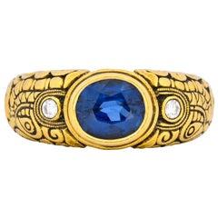Alex Sepkus 1.58 Carat Sapphire Diamond 18 Karat Gold Dragon Ring