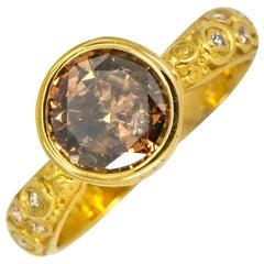 Alex Sepkus 1.74 Carat 18 Karat Gold Fancy Deep Brown Diamond Martini Ring