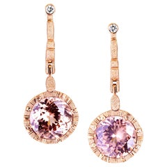 Alex Sepkus 18 Karat Gold Sticks and Stones Earrings with Bezel Set Zircon Drops