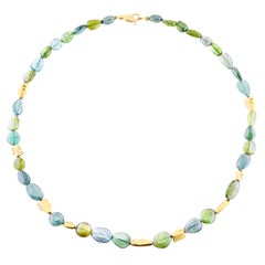 Alex Sepkus 18 Karat Yellow Gold Big Sleep Necklace with Tourmaline Beads