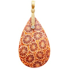 Alex Sepkus 18 Karat Yellow Gold Sticks and Stones Pendant with Fossilized Coral