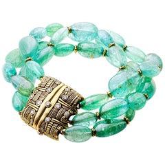 Alex Sepkus 18k Gold and Diamond Paraiba Tourmaline Bracelet with Gold Beads