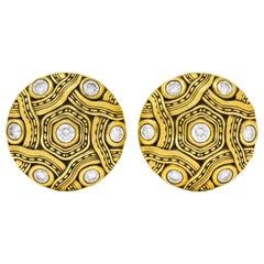 Alex Sepkus 2005 1.50 Carat Diamond 18 Karat Gold Disk Earrings