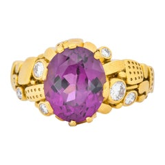 Alex Sepkus 3.92 Carat Rhodolite Garnet Diamond 18 Karat Gold Cocktail Ring