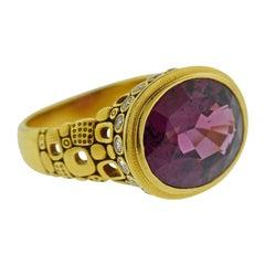 Alex Sepkus 8.24 Carat Raspberry Tourmaline Diamond Gold Ring