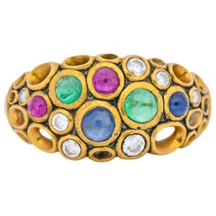 Alex Sepkus Blue Sapphire Emerald Ruby Diamond 18 Karat Gold Cluster Ring