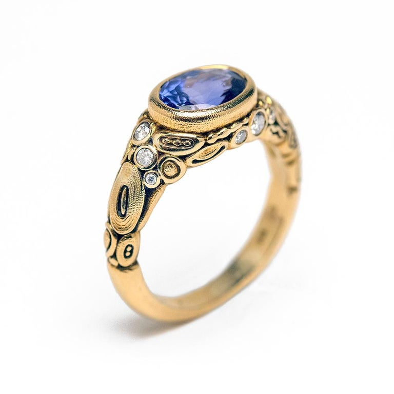 Alex Sepkus Blue Violet Sapphire and Diamond 18K Gold Cocktail Ring 2.30 Carat In New Condition For Sale In SOLVANG, CA