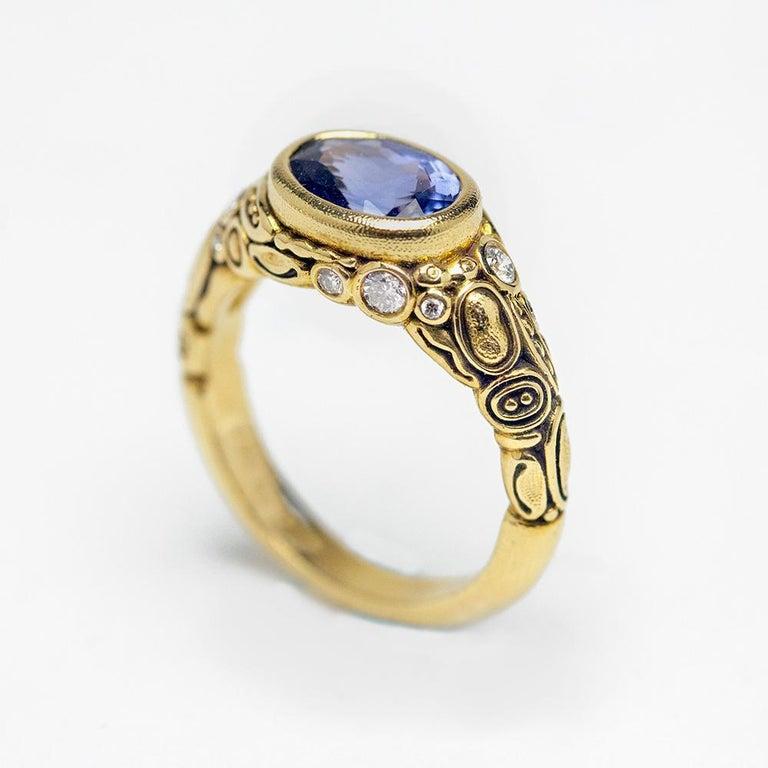 Women's or Men's Alex Sepkus Blue Violet Sapphire and Diamond 18K Gold Cocktail Ring 2.30 Carat For Sale