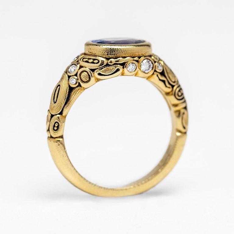 Alex Sepkus Blue Violet Sapphire and Diamond 18K Gold Cocktail Ring 2.30 Carat For Sale 1