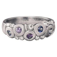 """Alex Sepkus """"Candy"""" Dome Ring with Blue and Purple Sapphires in Platinum"""