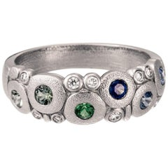 "Alex Sepkus ""Candy"" Dome Ring with Blue Sapphire and Green Tsavorite in Platinum"