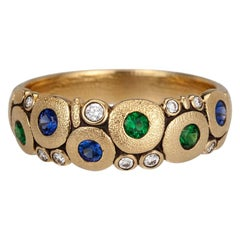 "Alex Sepkus ""Candy"" Dome Ring with Blue Sapphires and Green Tsavorite Garnets"