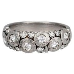 "Alex Sepkus ""Candy"" Dome Ring with Brilliant White Diamonds in Antiqued Platinum"