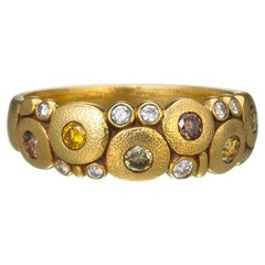 """Alex Sepkus """"Candy"""" Dome Ring with Natural Color Diamonds in 18 Karat Gold"""