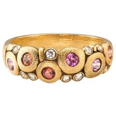 """Alex Sepkus """"Candy"""" Dome Ring with Pink and Orange Sapphires in 18 Karat Gold"""