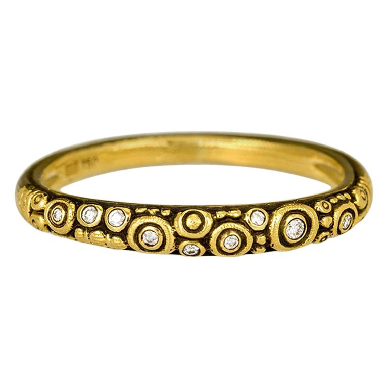"Alex Sepkus ""Circle Dome"" Band Ring with White Diamonds in 18 Karat Yellow Gold"