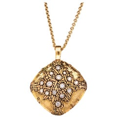 """Alex Sepkus """"Cushion"""" Pendant Necklace with White Diamonds in Gold"""