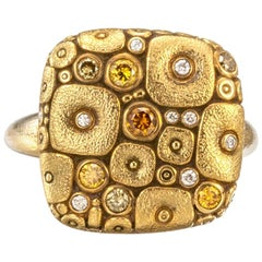 """Alex Sepkus """"Cushion"""" Ring with Yellow and White Diamonds in 18 Karat Gold"""