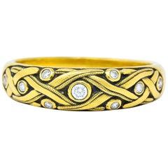 Alex Sepkus Diamond 18 Karat Yellow Gold Band Stackable Ring