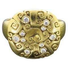 Alex Sepkus Diamond and 18 Karat Yellow Gold Ring