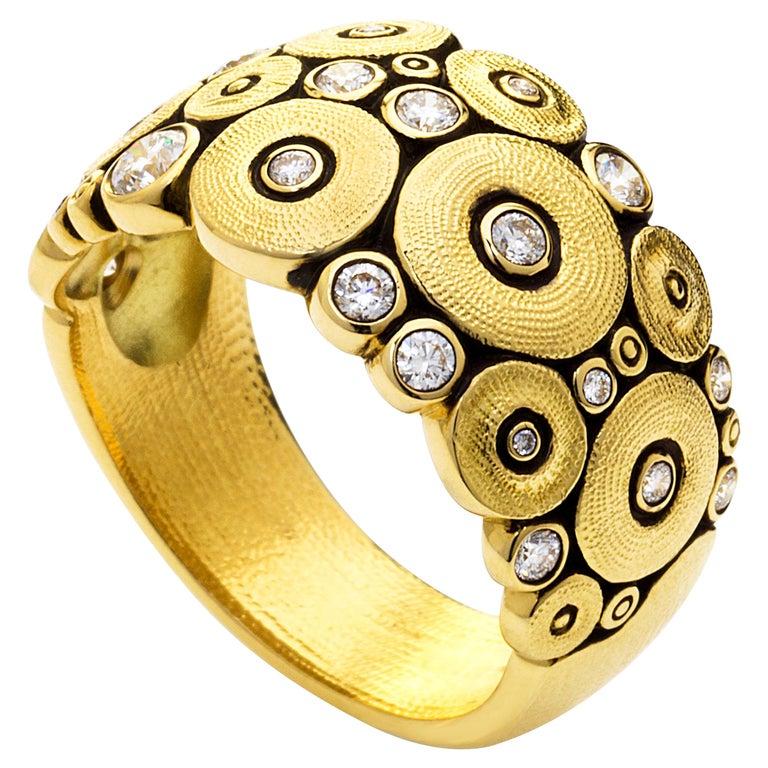 "Alex Sepkus Diamond Yellow Gold ""Ocean"" Ring For Sale"