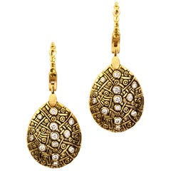 "Alex Sepkus Diamond Yellow Gold ""Tear Drop"" Earrings"