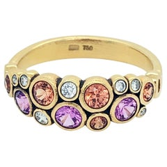 Alex Sepkus Dome Ring with Pink and Orange Sapphires in 18 Karat Yellow Gold
