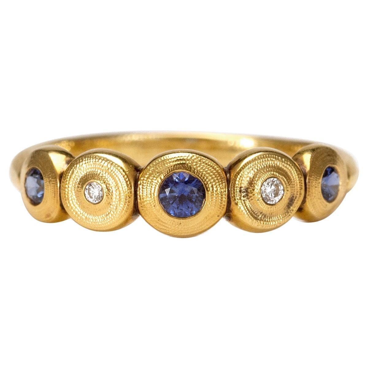 """Alex Sepkus """"Five Seed"""" Dome Ring with Blue Sapphire and Diamonds in 18k Gold"""