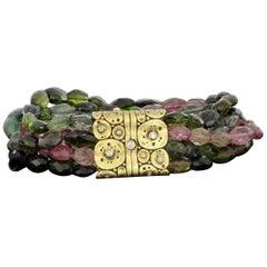 Alex Sepkus Lillies Yellow Gold Specialty Tourmaline and Diamond Beaded Bracelet