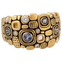 "Alex Sepkus ""Little Windows"" Dome Ring with Blue Sapphires in 18 Karat Gold"