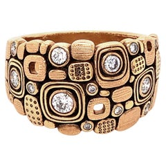 "Alex Sepkus ""Little Windows"" Dome Ring with White Diamonds in 18 Karat Gold"