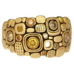 "Alex Sepkus ""Little Windows"" Dome Ring with Yellow Diamonds in 18 Karat Gold"