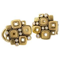 "Alex Sepkus ""Little Windows"" Stud Earrings with Diamonds in 18 Karat Yellow Gold"