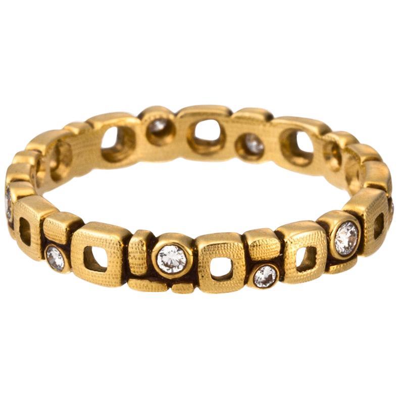 "Alex Sepkus ""Micro Windows"" Band Ring with White Diamonds in 18 Karat Gold"