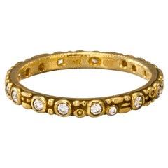 """Alex Sepkus """"Mini 62"""" Band Ring with White Diamonds in 18 Karat Yellow Gold"""