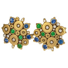 Alex Sepkus Ocean Earrings with Blue Sapphires and Green Tsavorites in Gold