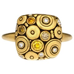 """Alex Sepkus """"Orchard"""" Cushion Ring with Yellow and White Diamonds in Gold"""